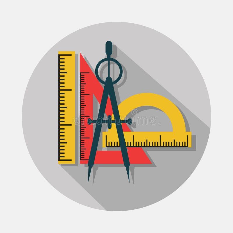 Kompass- och linjalsymboler med lång skugga på grå bakgrund royaltyfri illustrationer