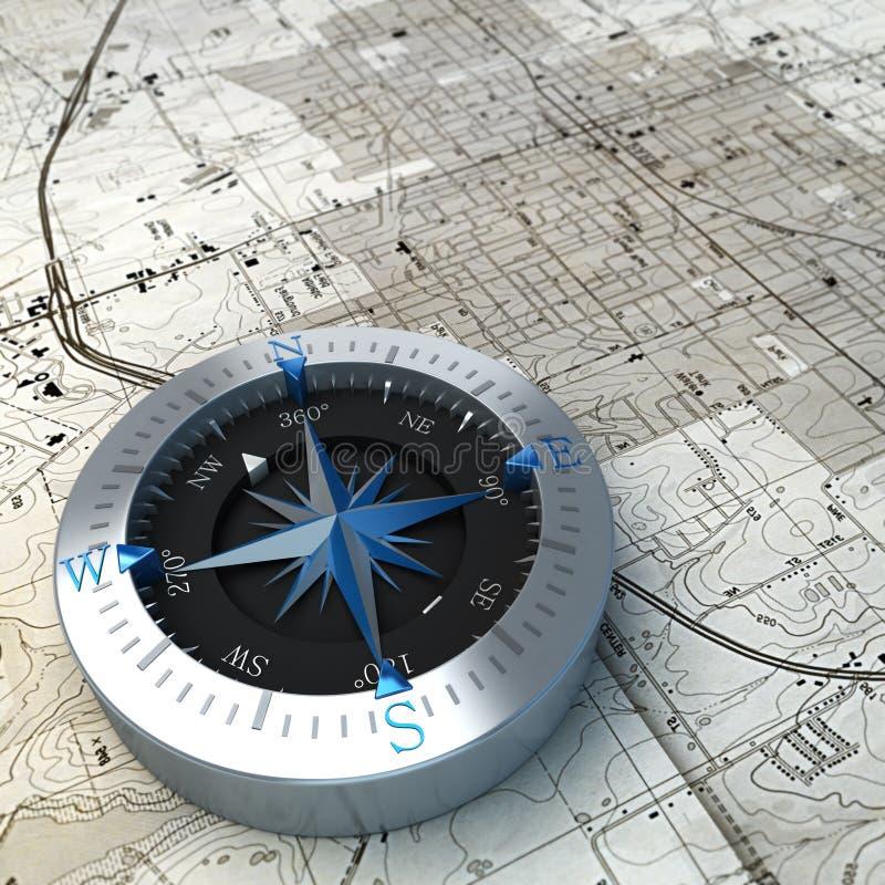 Kompass på översikt a stock illustrationer