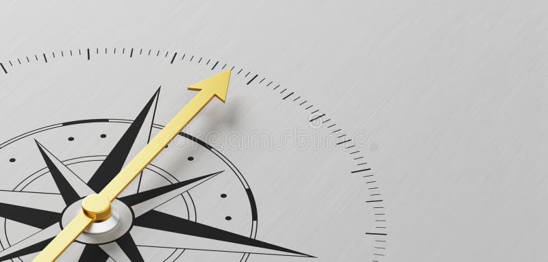 Kompass på en metallbakgrund med kopieringsutrymme vektor illustrationer