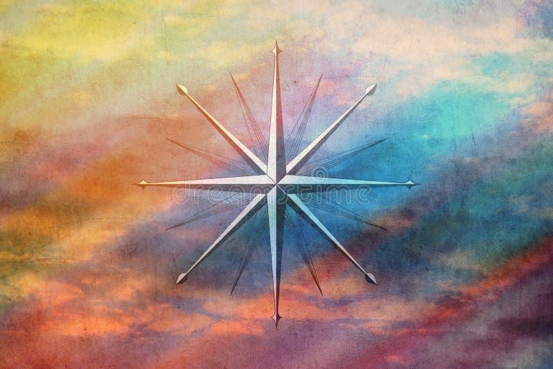 Kompass på gamla pappers- bakgrundsregnbågefärger royaltyfri fotografi