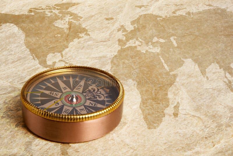 Kompass på tappningöversikt royaltyfria foton