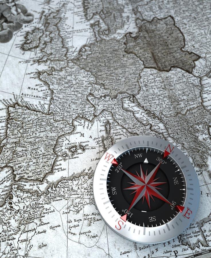 Kompass p? ?versikt stock illustrationer