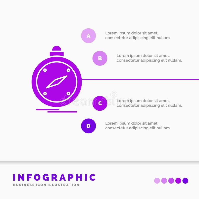 Kompass, Richtung, Navigation, gps, Standort Infographics-Schablone für Website und Darstellung Purpurrote Ikone des GLyph infogr vektor abbildung