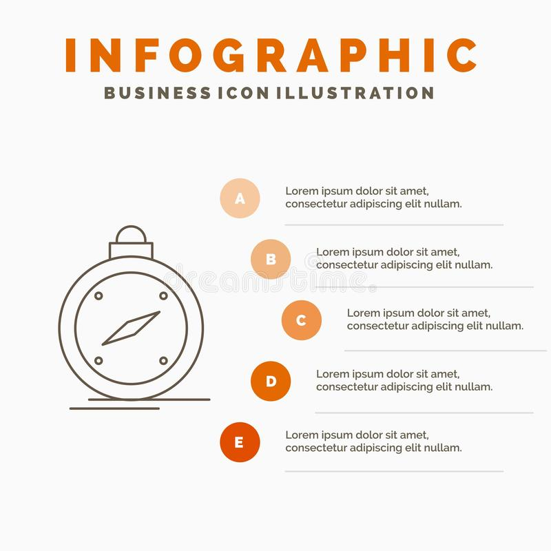 Kompass, Richtung, Navigation, gps, Standort Infographics-Schablone f?r Website und Darstellung Linie graue Ikone mit Orange stock abbildung