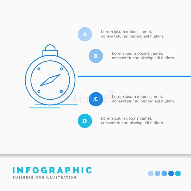 Kompass, Richtung, Navigation, gps, Standort Infographics-Schablone f?r Website und Darstellung Linie infographic Art der blauen  vektor abbildung