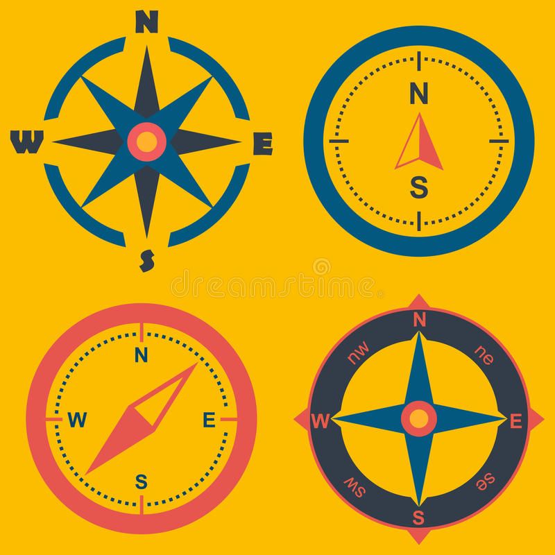 Kompass rosa illustraition för vind vind steg på bakgrund vektor illustrationer