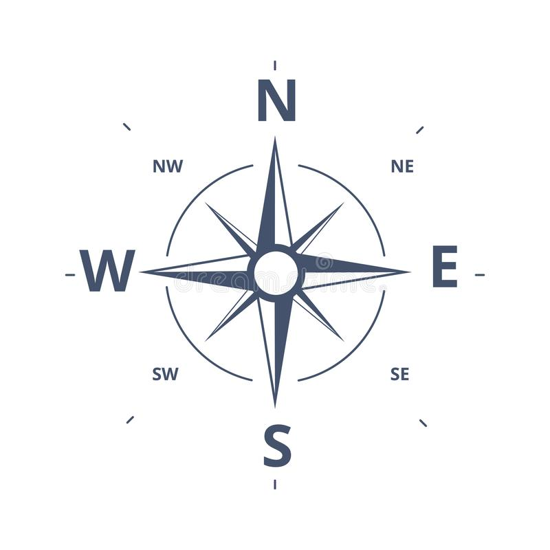 Kompass Rose Icon Vector Logo Template Retro design c för vindros vektor illustrationer
