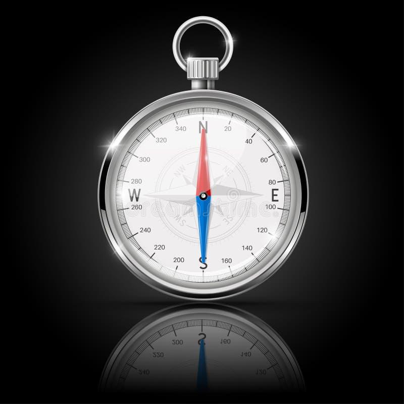 Kompass Runt mått med kromramen med reflexion royaltyfri illustrationer