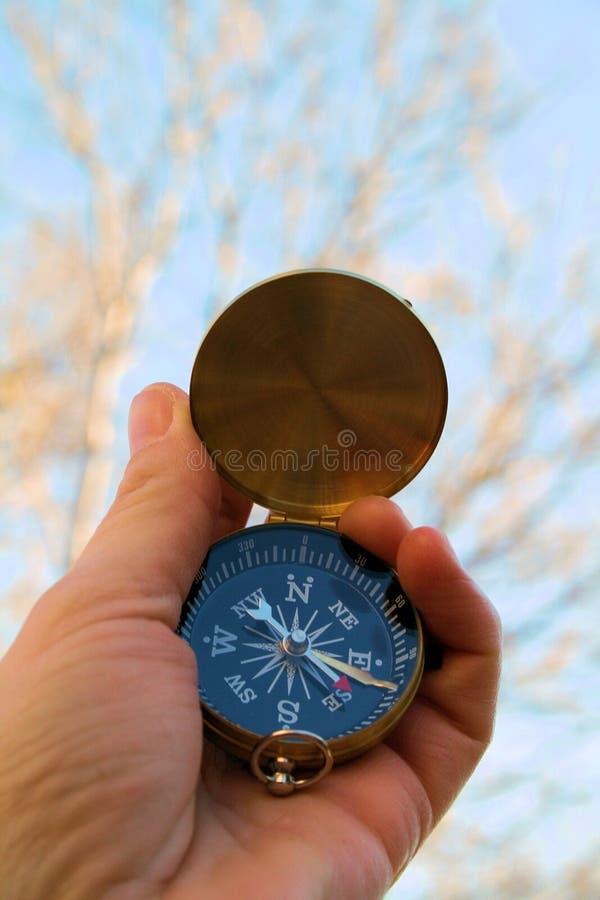Kompass som österut pekar fotografering för bildbyråer