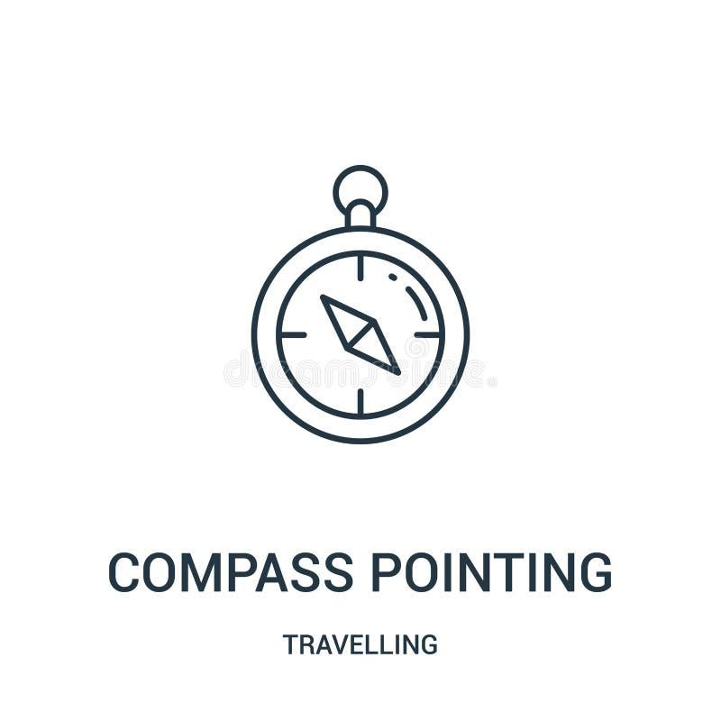 kompass som pekar symbolsvektorn från att resa samlingen Tunn linje kompass som pekar illustrationen för översiktssymbolsvektor l vektor illustrationer