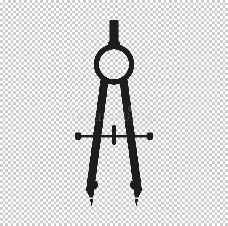 Kompass - svart vektorsymbol stock illustrationer