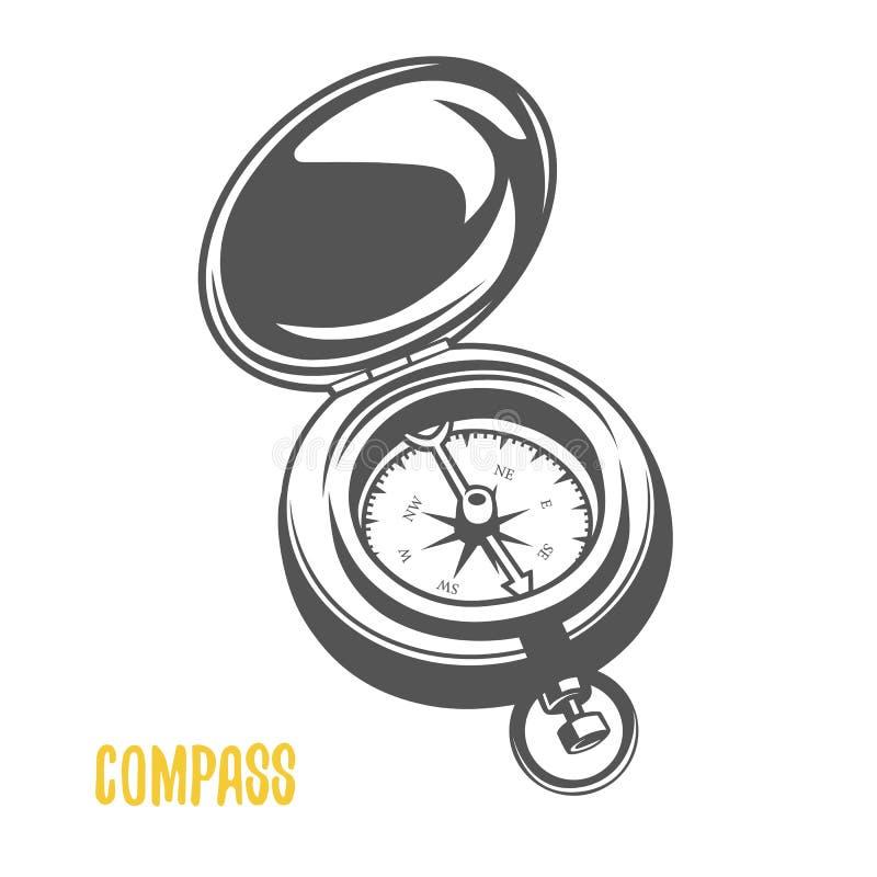 Kompass Svartvit illustration vektor illustrationer