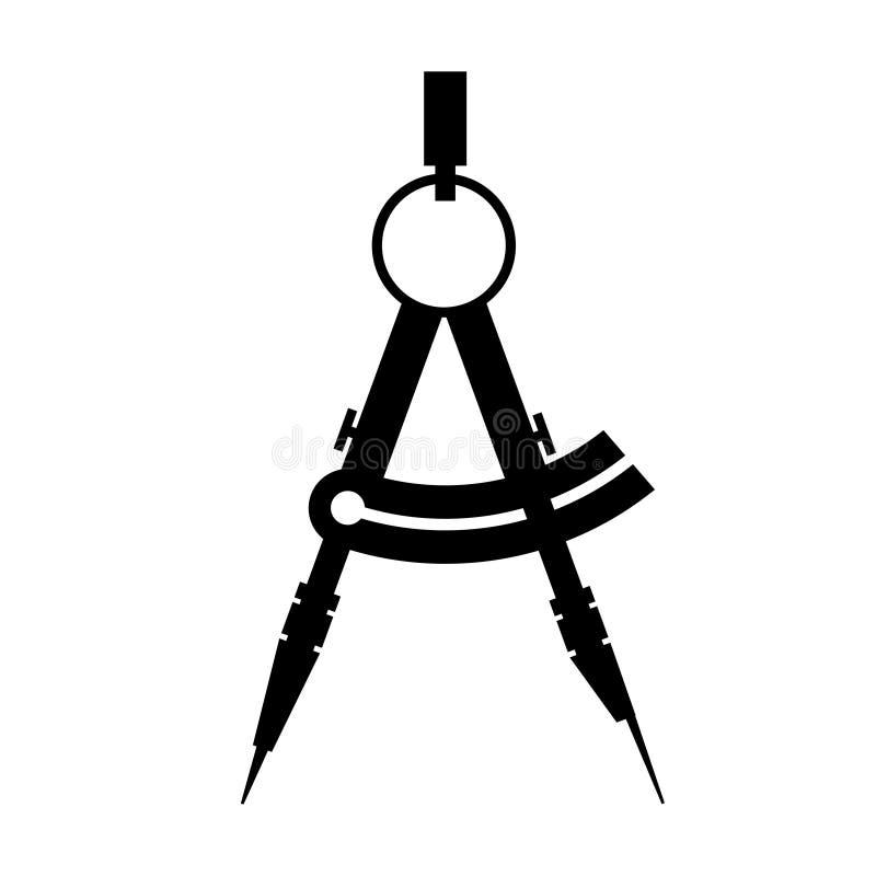 Kompass. svartvit symbol. vektor stock illustrationer