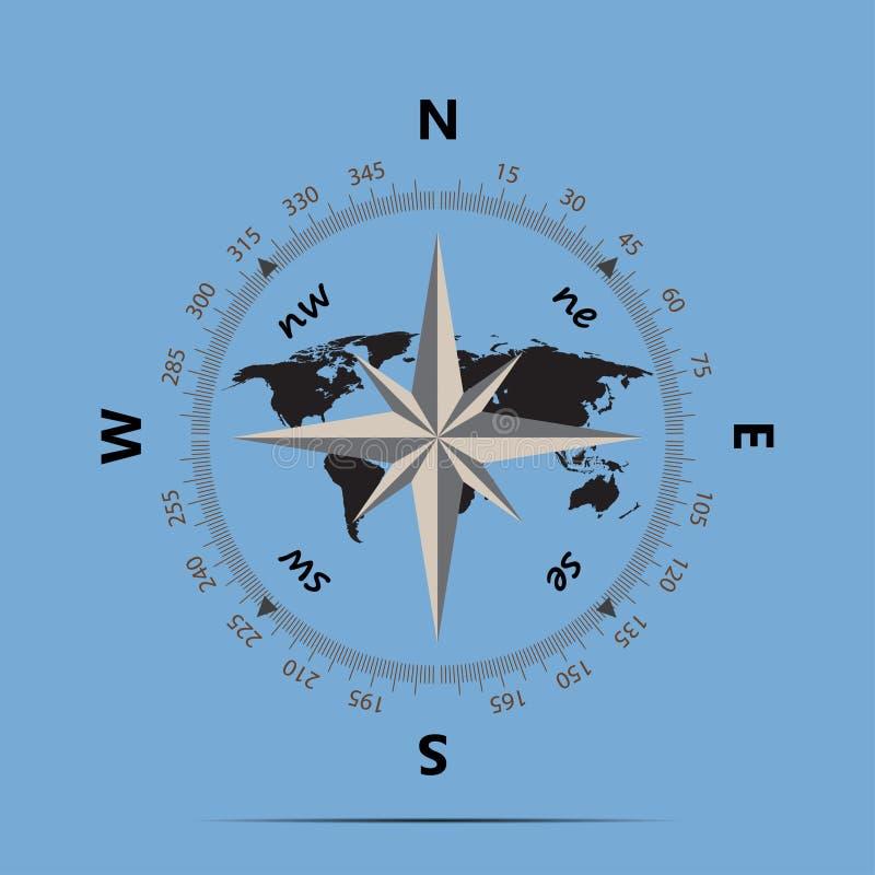 Kompass Und Erde Auf Einer Flachen Art Des Blauen Hintergrundes ...