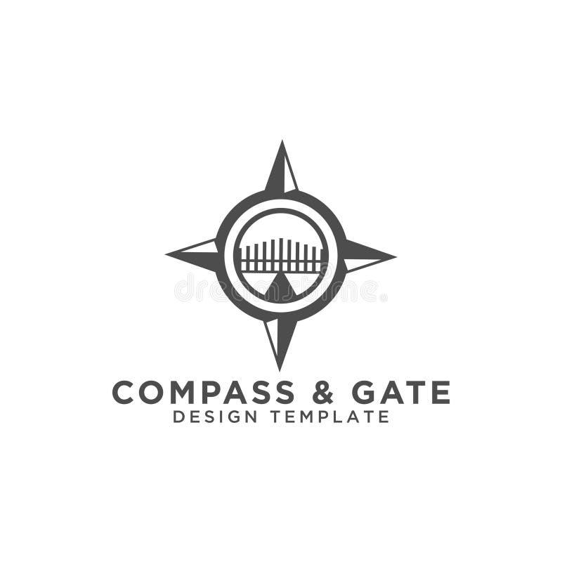 Kompass- und Torlogodesign-Schablonenvektor lizenzfreie abbildung
