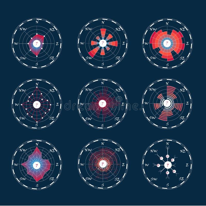 Kompasset steg med mörk bakgrund vektor illustrationer