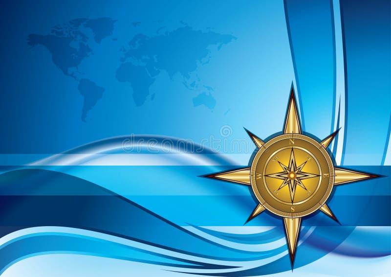 kompassguld royaltyfri illustrationer
