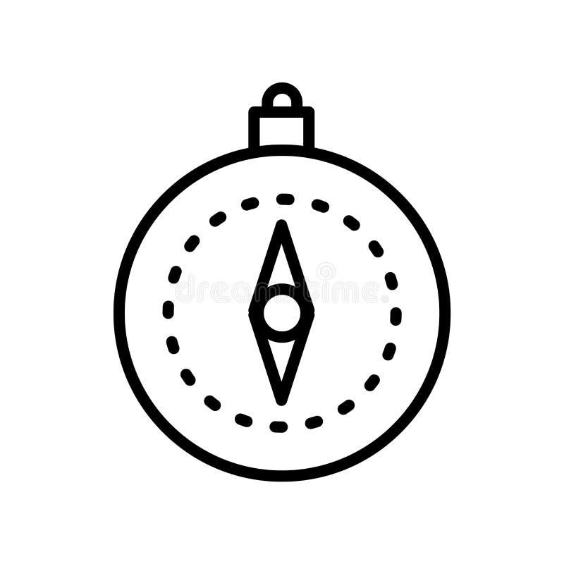 Kompassikonenvektor lokalisiert auf weißem Hintergrund, Kompasszeichen, linearem Symbol und Anschlaggestaltungselementen in der E stock abbildung