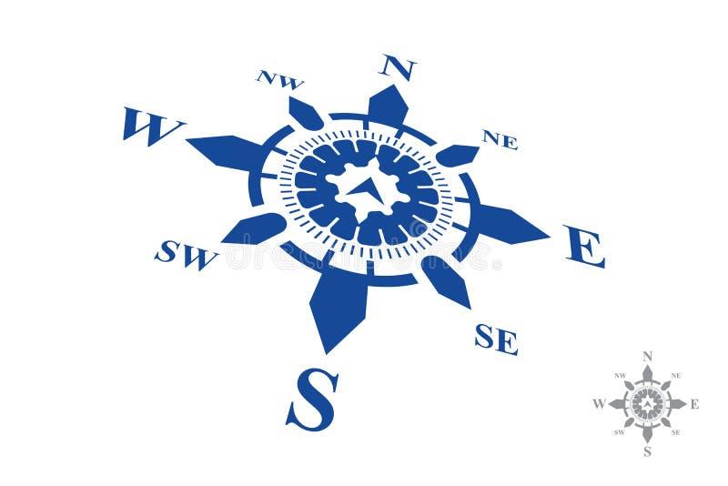 Kompasslogo som isoleras på vit bakgrund stock illustrationer