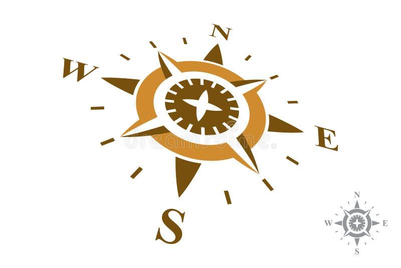 Kompasslogo som isoleras på vit bakgrund royaltyfri illustrationer