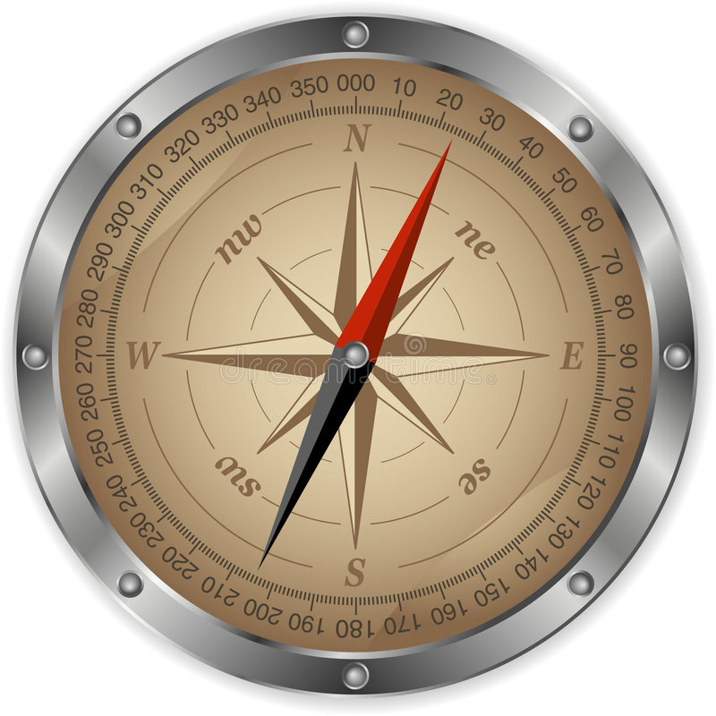 kompassmetall vektor illustrationer