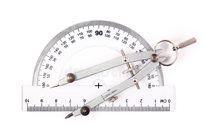 kompassprotractor royaltyfri fotografi