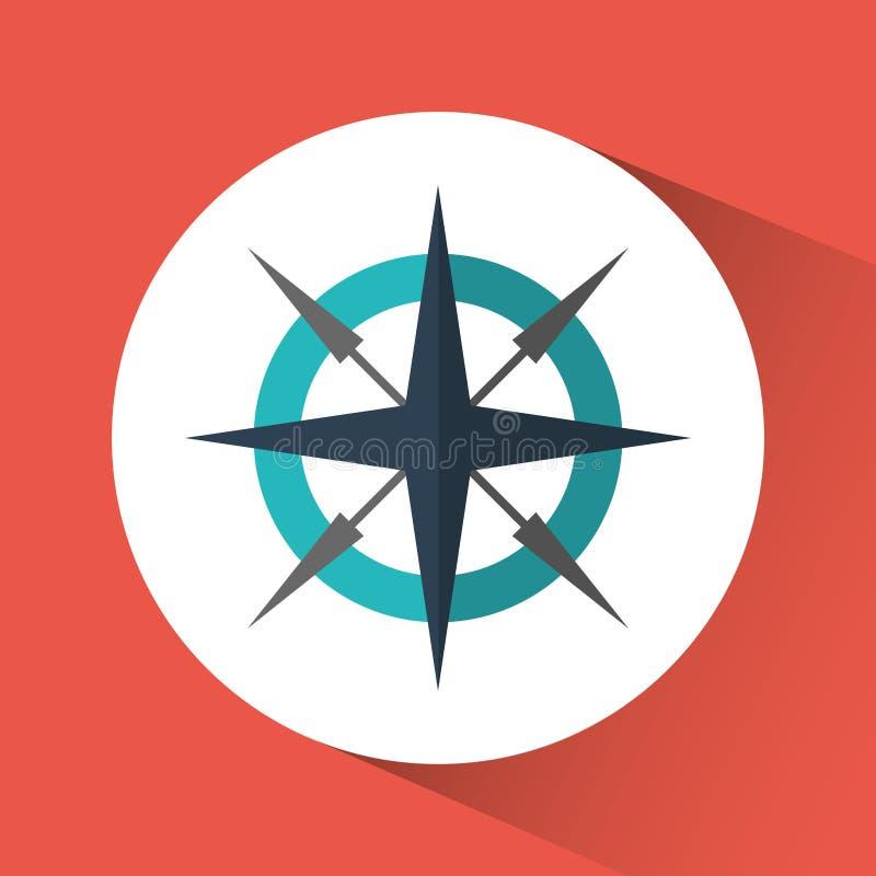 Kompassreise-Instrumentikone Dekorativer Hintergrund als stilisiert Strudel der Wellen stock abbildung