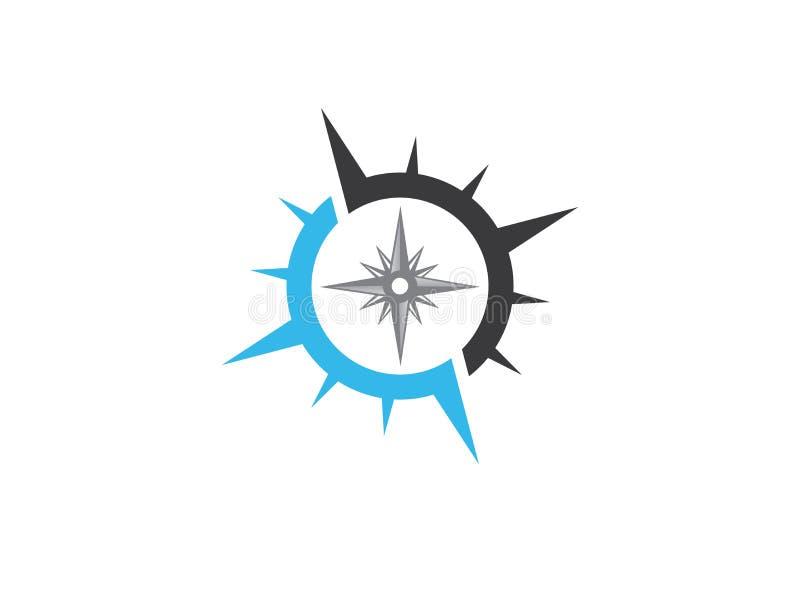 Kompasssymbol för logodesignillustratören, utforskningsymbol som fotvandrar hjälpmedlet royaltyfri illustrationer