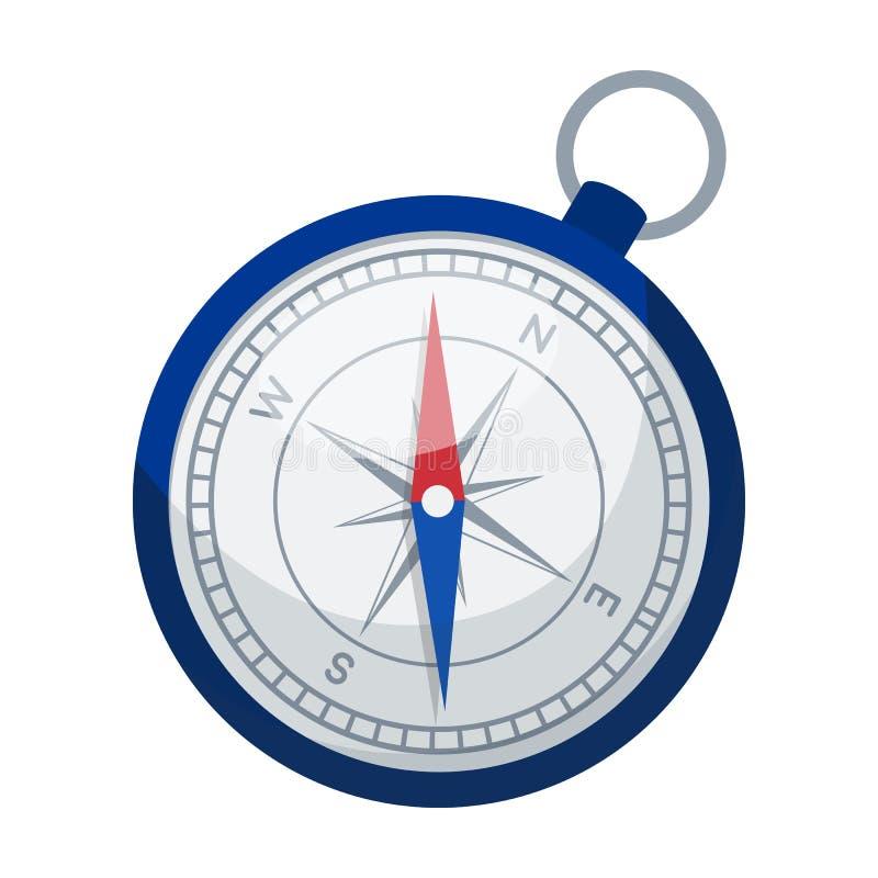 Kompasssymbol i tecknad filmstil som isoleras på vit bakgrund Vila och resa symbolet royaltyfri illustrationer