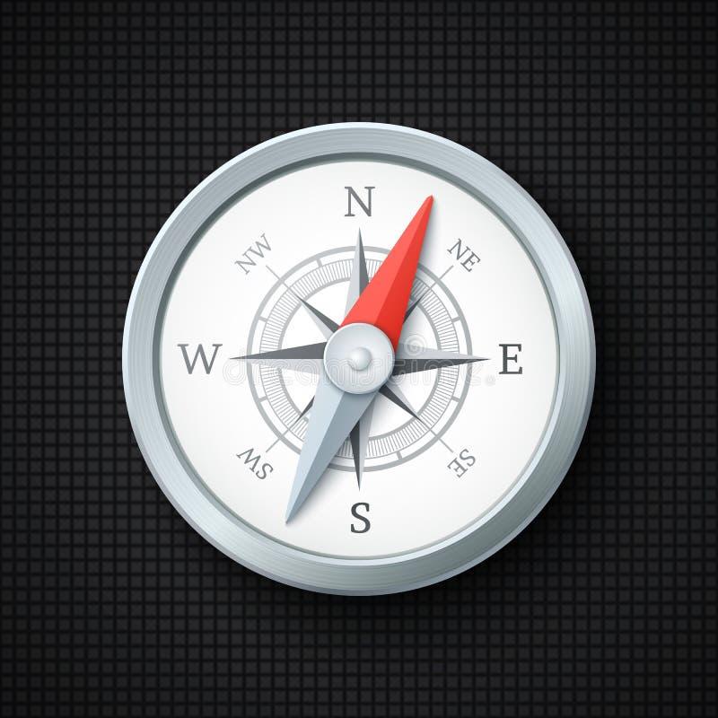 Kompasssymbol på svart texturerad bakgrund stock illustrationer