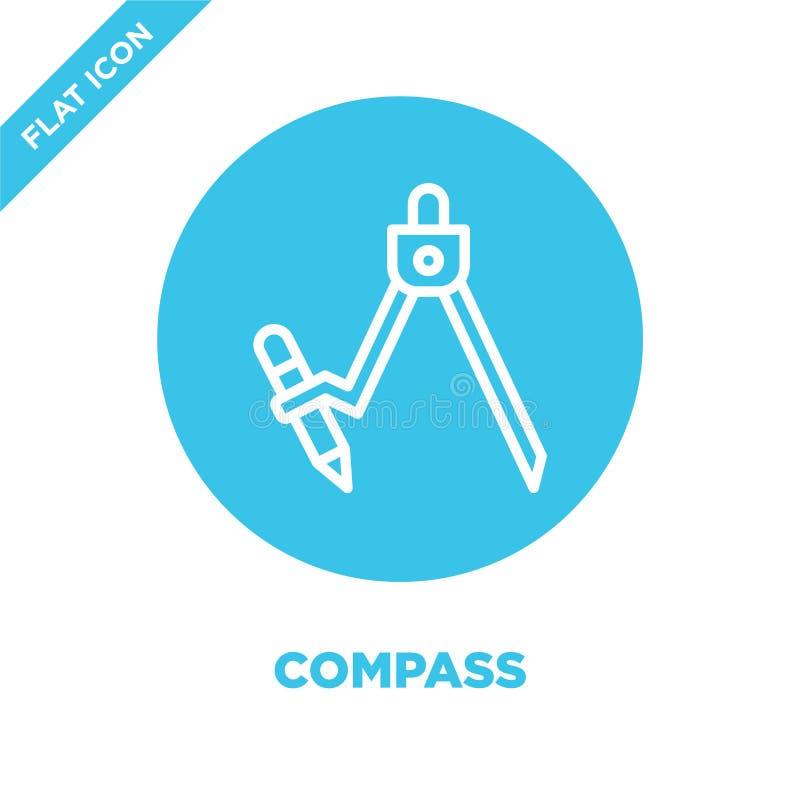 kompasssymbolsvektor från brevpappersamling Tunn linje illustration för vektor för kompassöversiktssymbol Linjärt symbol för bruk stock illustrationer