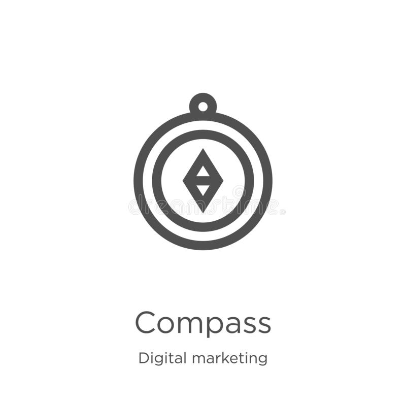 kompasssymbolsvektor från digital marknadsföra samling Tunn linje illustration f?r vektor f?r kompass?versiktssymbol ?versikt tun vektor illustrationer