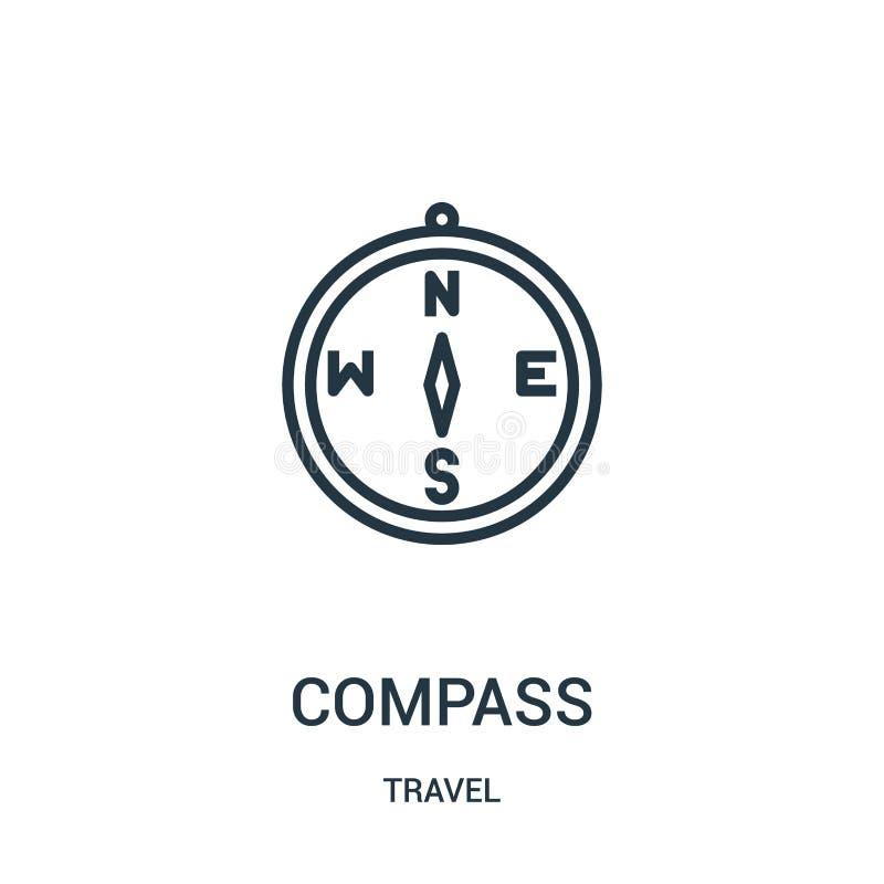 kompasssymbolsvektor från loppsamling Tunn linje illustration för vektor för kompassöversiktssymbol Linjärt symbol för bruk på re vektor illustrationer