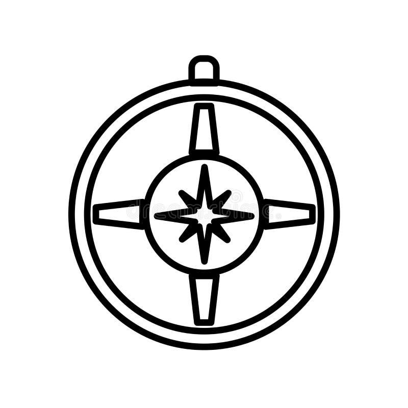 Kompasssymbolsvektorn som isoleras på vit bakgrund, omringar tecknet, linjen eller det linjära tecknet, beståndsdeldesign i övers stock illustrationer