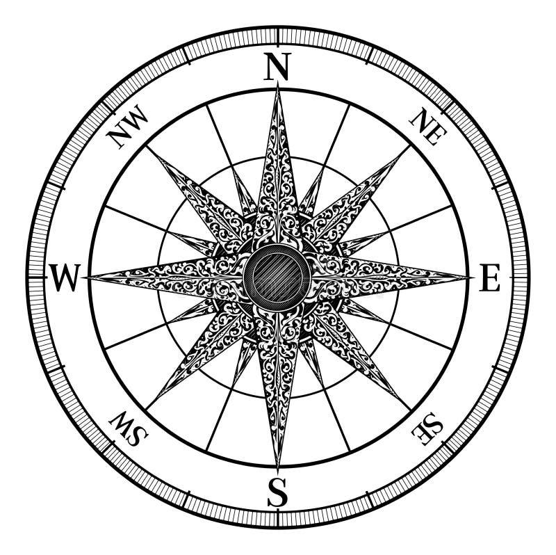 Kompasstappning steg royaltyfri illustrationer