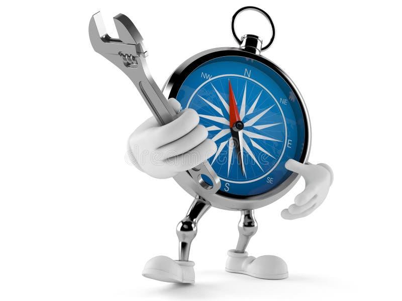 Kompasstecken som rymmer den justerbara skiftnyckeln stock illustrationer