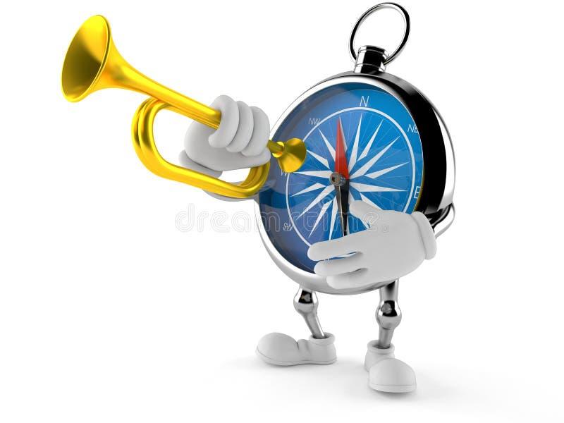 Kompasstecken som spelar trumpeten stock illustrationer