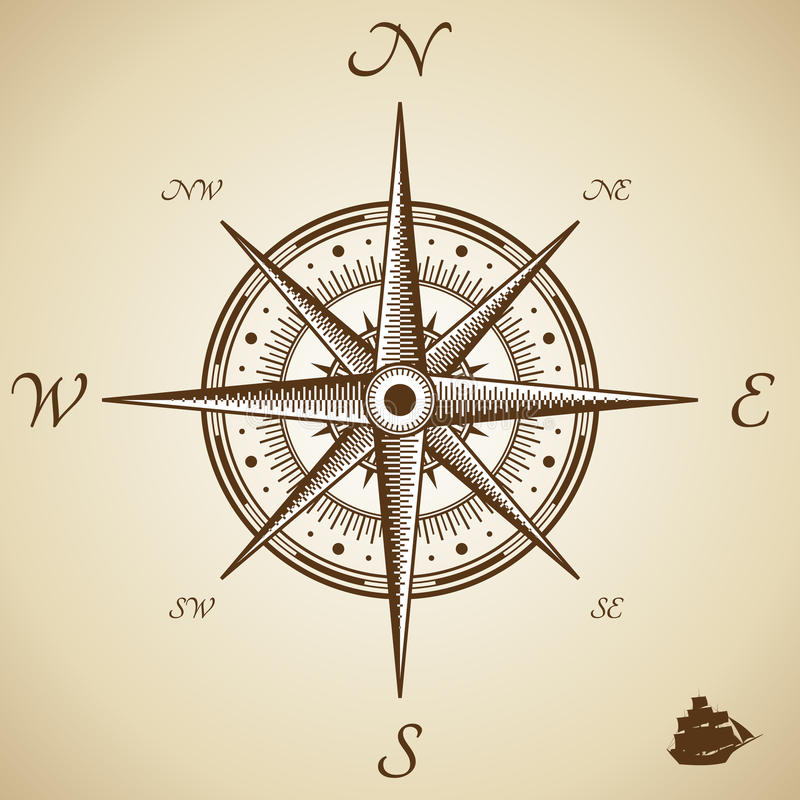 kompassvektor vektor illustrationer