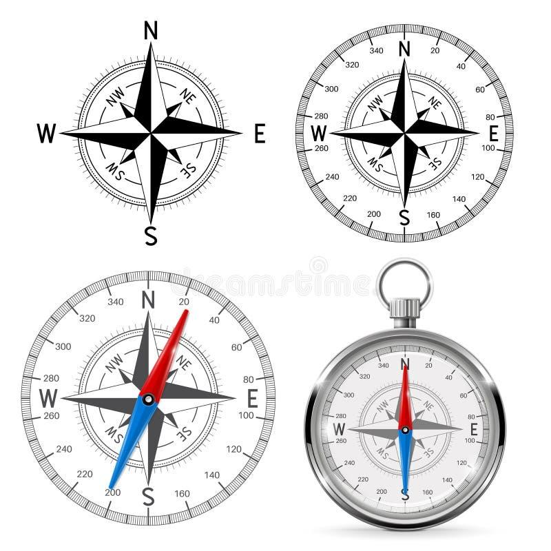 Kompassvindrosor stock illustrationer
