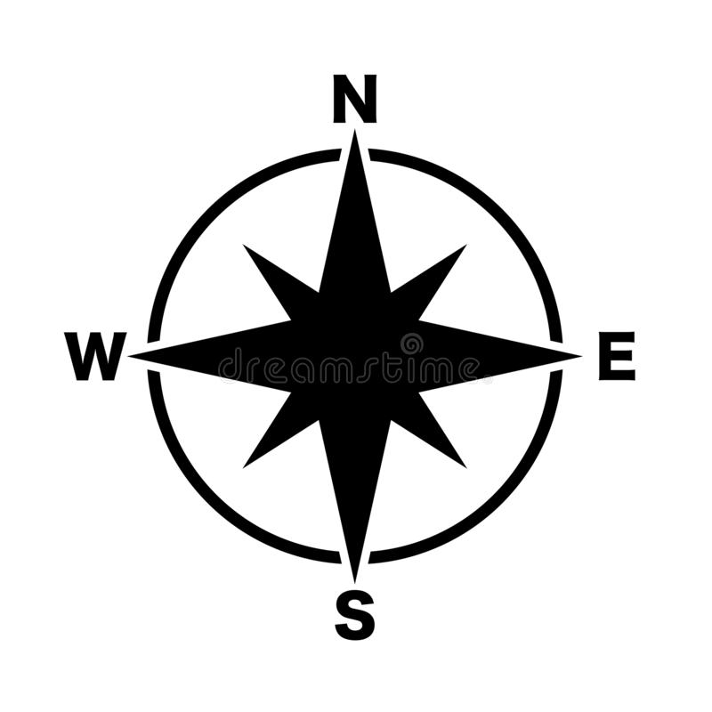 Kompassweißer Hintergrund des Hauptrichtungsikonenschwarzen vektor abbildung