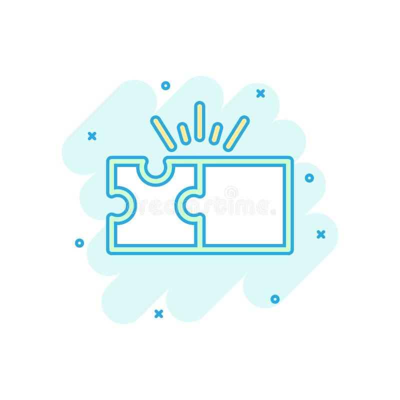 Kompatibel symbol för pussel i komisk stil Illustration för tecknad film för figursågöverenskommelsevektor på vit isolerad bakgru stock illustrationer