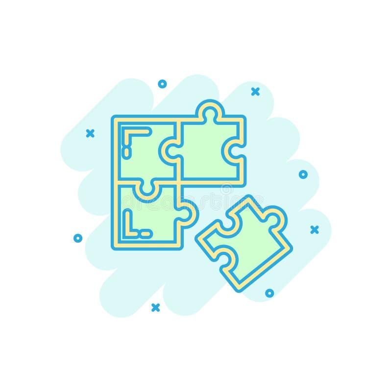 Kompatibel symbol för pussel i komisk stil Illustration för tecknad film för figursågöverenskommelsevektor på vit isolerad bakgru vektor illustrationer