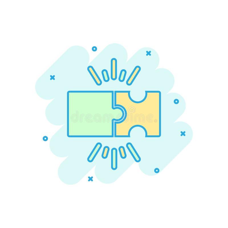 Kompatibel symbol för pussel i komisk stil Illustration för tecknad film för figursågöverenskommelsevektor på vit isolerad bakgru royaltyfri illustrationer