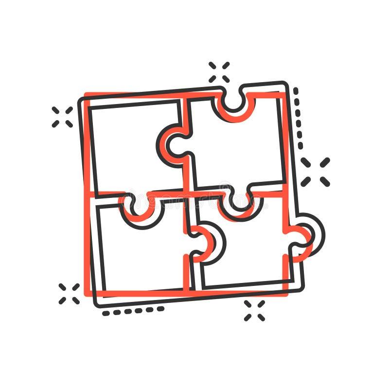Kompatible Ikone des Puzzlespiels in der komischen Art Zackige Vereinbarungsvektor-Karikaturillustration auf weißem lokalisiertem lizenzfreie abbildung