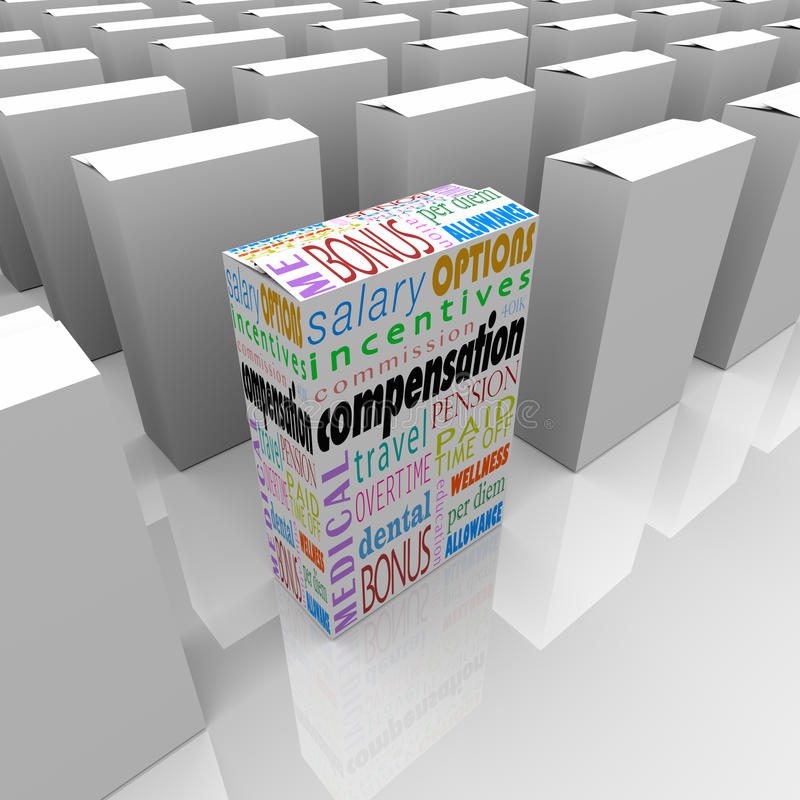 Kompensationsfördelpacke mest generösa konkurrensarbetsgivare stock illustrationer