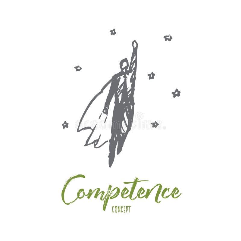 Kompetencja, biznes, praca, zadanie, sukcesu pojęcie Ręka rysujący odosobniony wektor royalty ilustracja