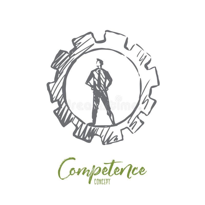 Kompetencja, biznes, zarządzanie, zadanie, mężczyzna pojęcie Ręka rysujący odosobniony wektor ilustracji