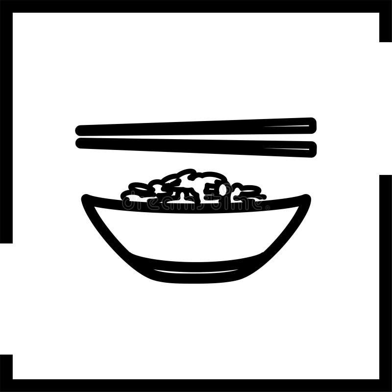 Kompictogram met rijst en eetstokjes die in een vierkant worden geplaatst royalty-vrije stock afbeelding