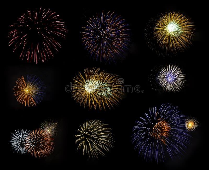 Kompilation der Feuerwerke stockbild