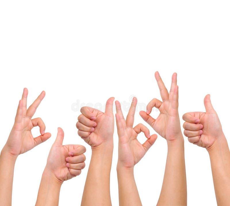Kompilation der positiven Handzeichen stockfoto